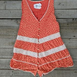 Anthropologie lace trimmed tank top